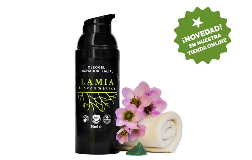 Oleogel limpiador facial. un limpiador facial en forma de gel oleoso para el rostro con Lamia Biocosmética. Cosmética natural